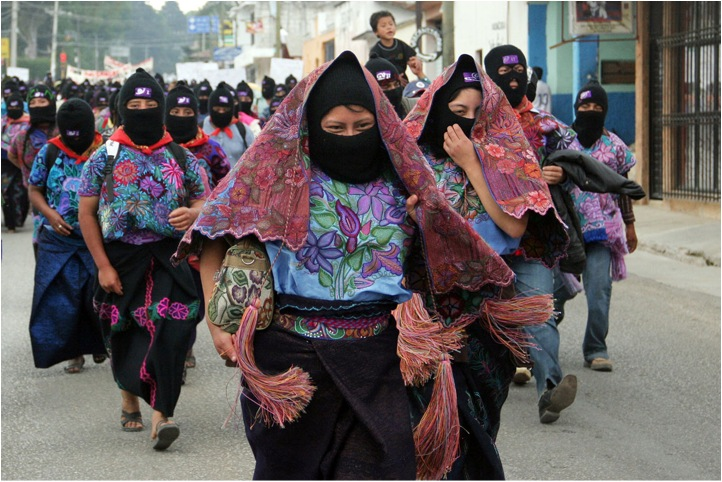 Zapatista women marching, Chiapas, 2012. Photograph by Moysés Zúniga