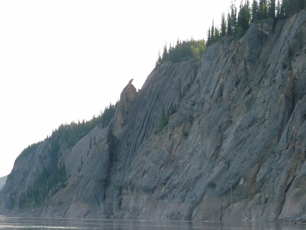 Fig. 11. Where Wolverine turned to stone on the Dehcho (Mackenzie River), Northwest Territories. Photograph by author with thanks to Bella T'Seleie and Frank T'Seleie.