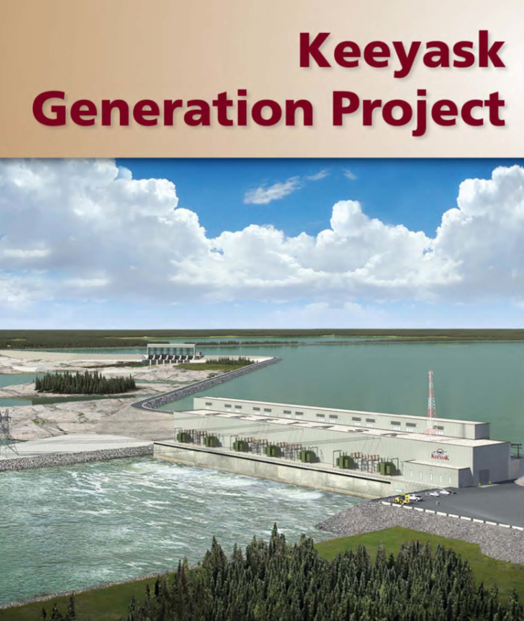 Fig. 14. Design image of the Keeyask Dam, now being built at the site of Keeyask Rapids. Image by Manitoba Hydro, used with permission.