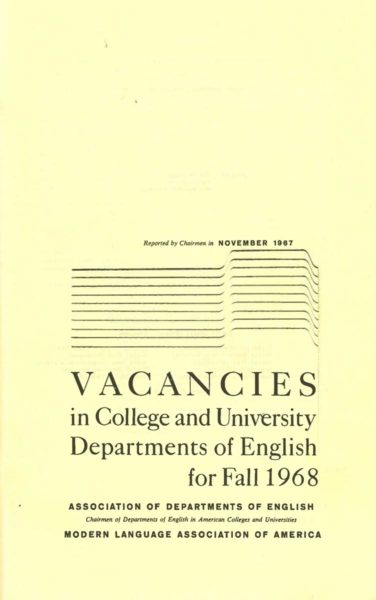 Fig. 2. Cover of the November 1967 issue of the ADE and MLA's Vacancies in College and University Departments of English for Fall 1968, the precursor to the JIL.